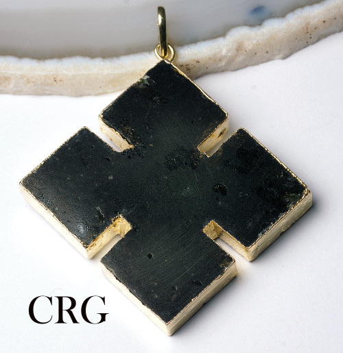 "Gold Plated THICK Black Tourmaline Cross Pendant 2"" - (CR23DG)"