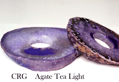 Purple Agate Thick Slab TeaLight Candle Holder