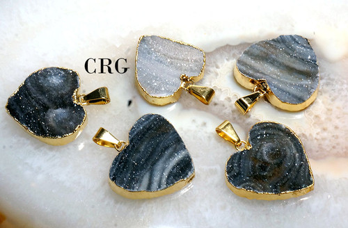 Gold Plated Chalcedony Druzy Heart Pendant 20-30mm