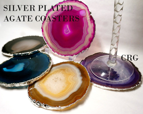 """#4 Silver Plated Agate Coaster QTY-1 / NO CORK/ 4""""-4.5"""""""