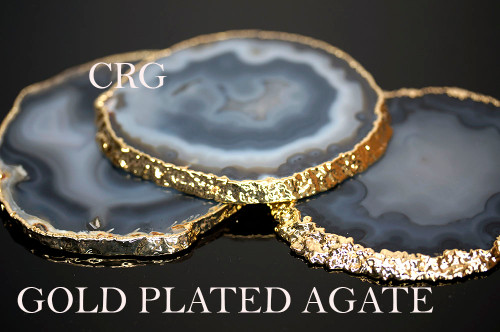 """#2 Gold Plated Natural Color Agate Slice 3"""" QTY-1"""