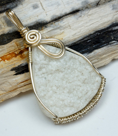 One of a Kind Quartz Druzy Wire Wrapped Pendant A-2676