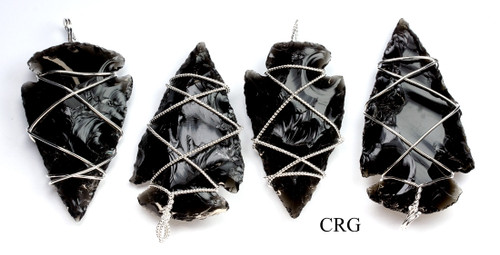 Silver Plated Wire Wrapped Obsidian Arrowhead Pendant