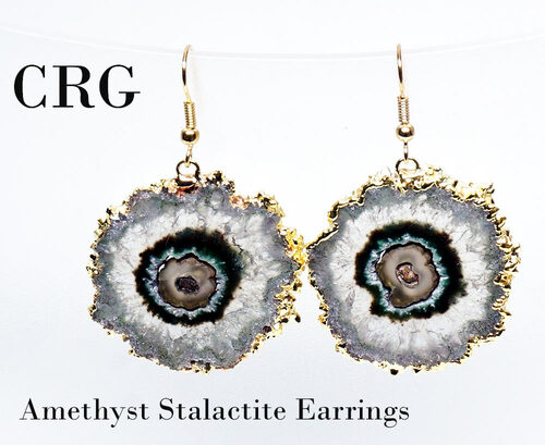 Gold Plated Amethyst Crystal Stalactite Earring Pair (Large) 20-30mm (random purple color light and dark) Grade A (EAR180)