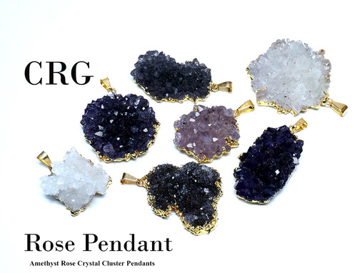 Gold Plated Amethyst Rose Cluster Pendant 30-45mm