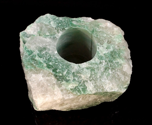 Green & White Quartz Rough Stone T-Light Candle Holder qty-1