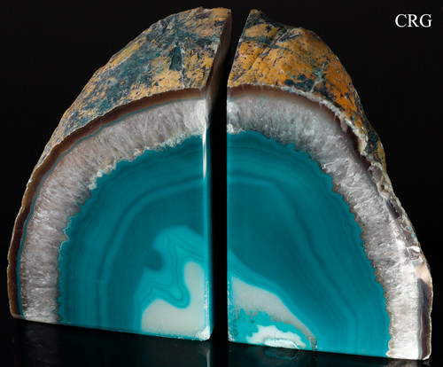 Teal Agate Bookends from Brazil (ABOOK-TE)