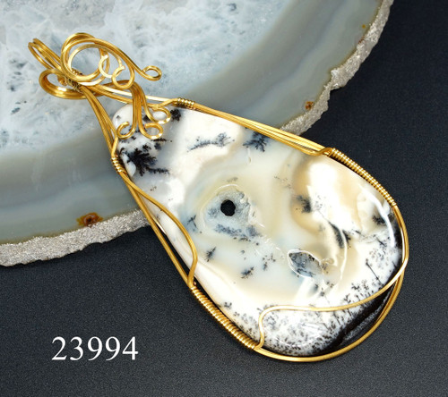 One of a Kind Dendritic Agate Wire Wrapped Pendant