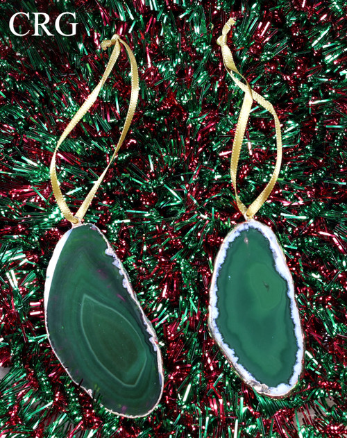 Gold Plated Green Agate Slice Ornament Set of 3