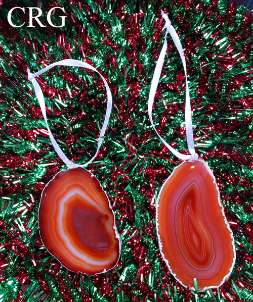 Silver Plated Red Agate Slice Ornament Set of 3 (AGO-R-SP)