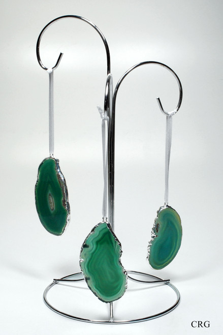 Silver Plated Green Agate Slice Ornament