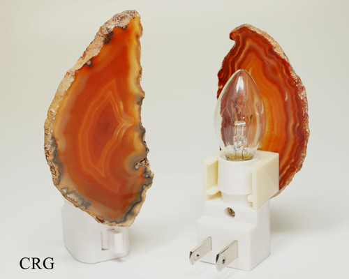 Red Agate Nightlights with Bulb and Switch