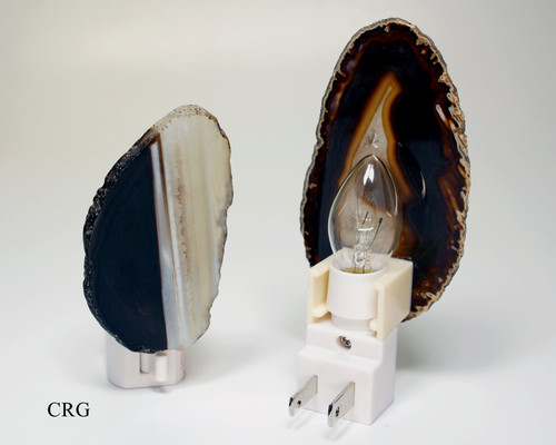Black Agate Nightlights with Bulb and Switch