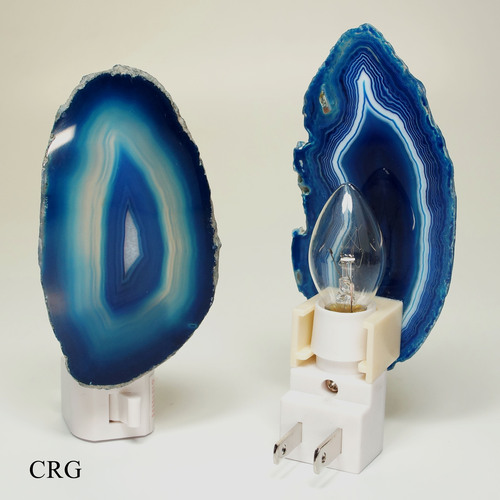 Blue Agate Nightlights with Bulb and Switch