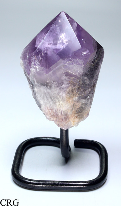 "Smoky Amethyst Point on Metal Stand 4-5"" avg Qty- 1 (BASE-PTAMY)"