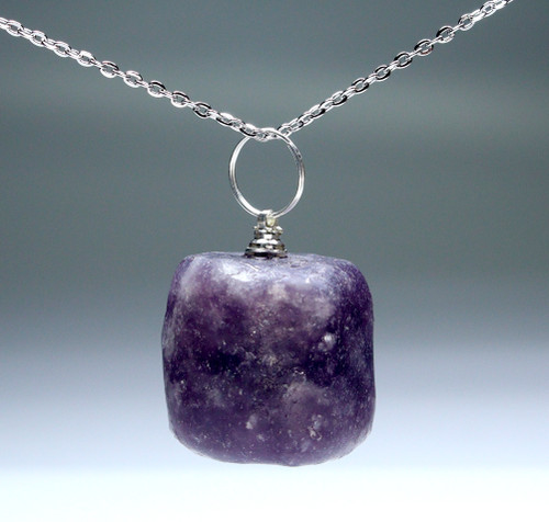 Set of 4 Tumbled Lepidolite Pendant with Silver Bail