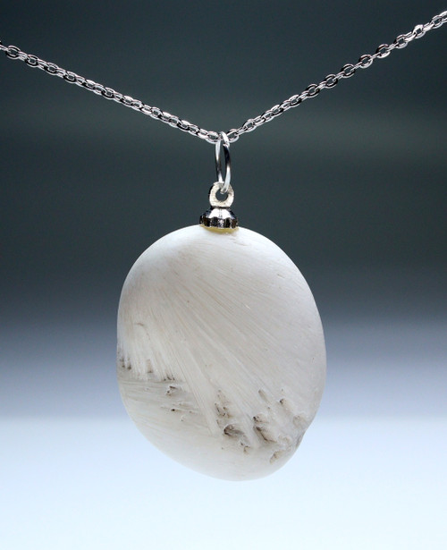 Set of 4 Tumbled Scolecite Pendant with Silver Bail