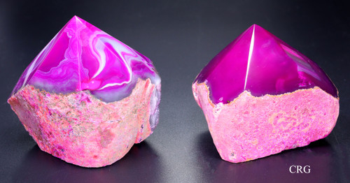 Top Polished Agate Point with Cut Base- Pink (TPP1-PK)
