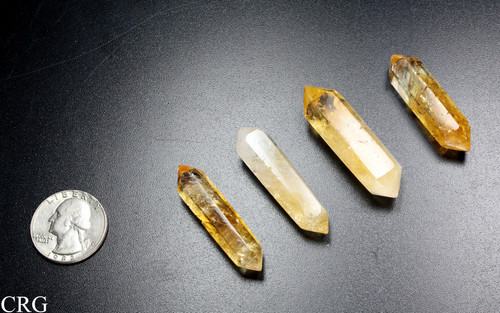 """Polished Double Terminated Citrine Crystal Point 1.5-2"""" avg (DTCT-1PC)"""