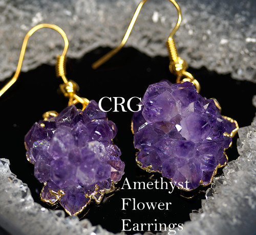 Gold Plated Amethyst Crystal Stalactite ROSE TIP Earring Pair 20-30mm (random purple color light and dark) Grade A! EAR209