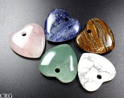 Heart 45mm Gemstone (front drilled hole) Pendant Assortment QTY-5