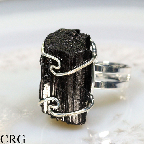 Wire Wrapped Raw Black Tourmaline Crystal Adjustable Ring (MR41-S)