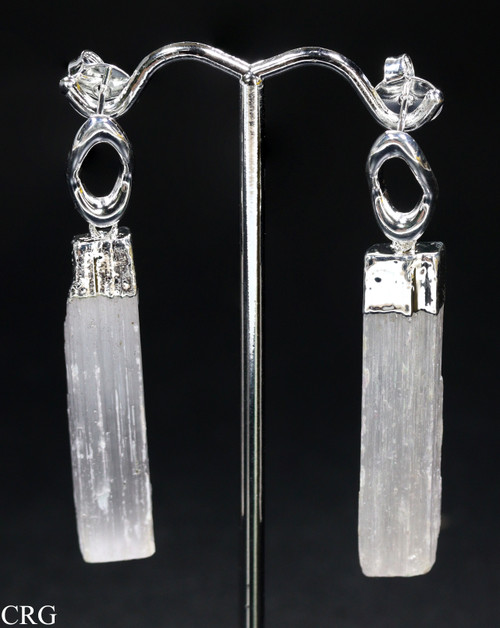 Silver Plated Selenite Crystal Toothpick Earrings (MR150-SS)