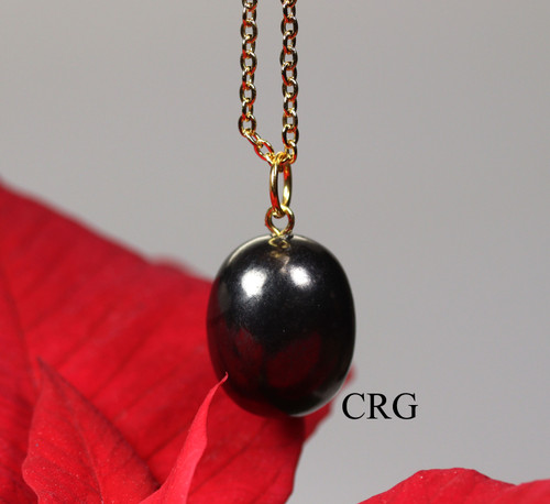 """Russian Shungite Small Tumbled Amulet Pendant w/ Gold Bail and 18"""" Chain - Qty. 1"""