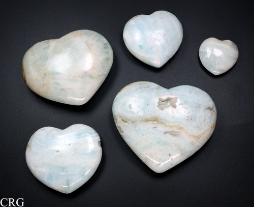 Polished Caribbean Calcite Puffy Hearts 1 LB lot (HRT15)