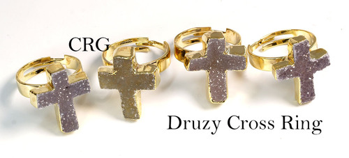 Gold Plated AGATE DRUZY CROSS Adjustable Ring (R21CN)