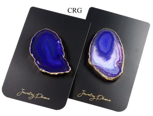 Qty-4 Freeform Gold Plated PURPLE Agate Pop Socket (PS3BR-PR4)
