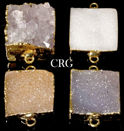Gold Plated Uruguayan Crystal Druzy Square Connector (CON8CN)