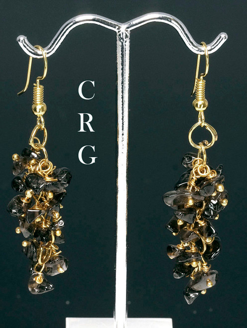 Gold Plated Smoky Quartz Chip Bead Grape Cluster Earrings