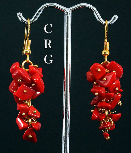 Gold Plated Red Coral Grape Cluster Earrings (GC38DG)
