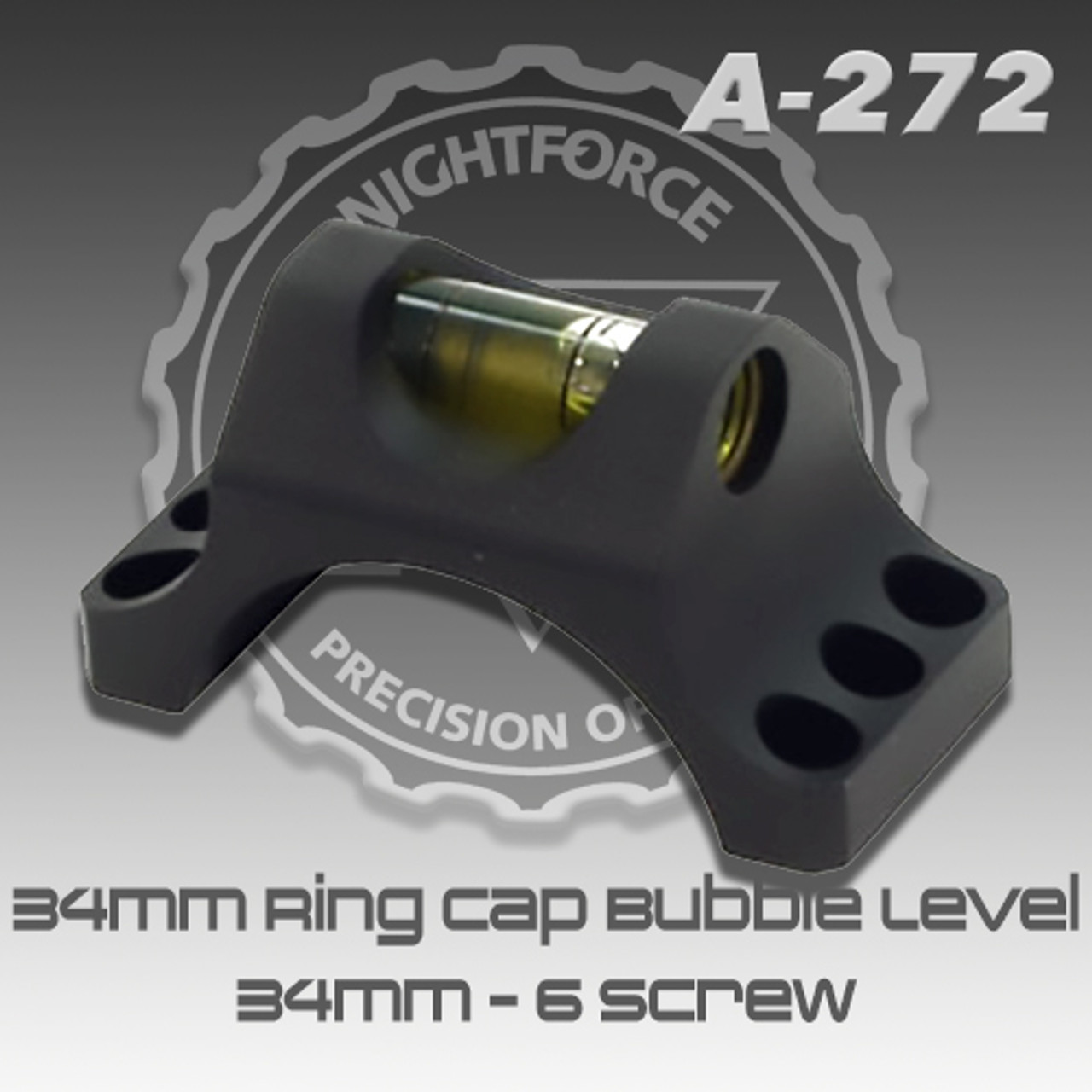 NightForce Top Half of Ring with Level 34mm Black Mount A273 by NightForce 6 screw