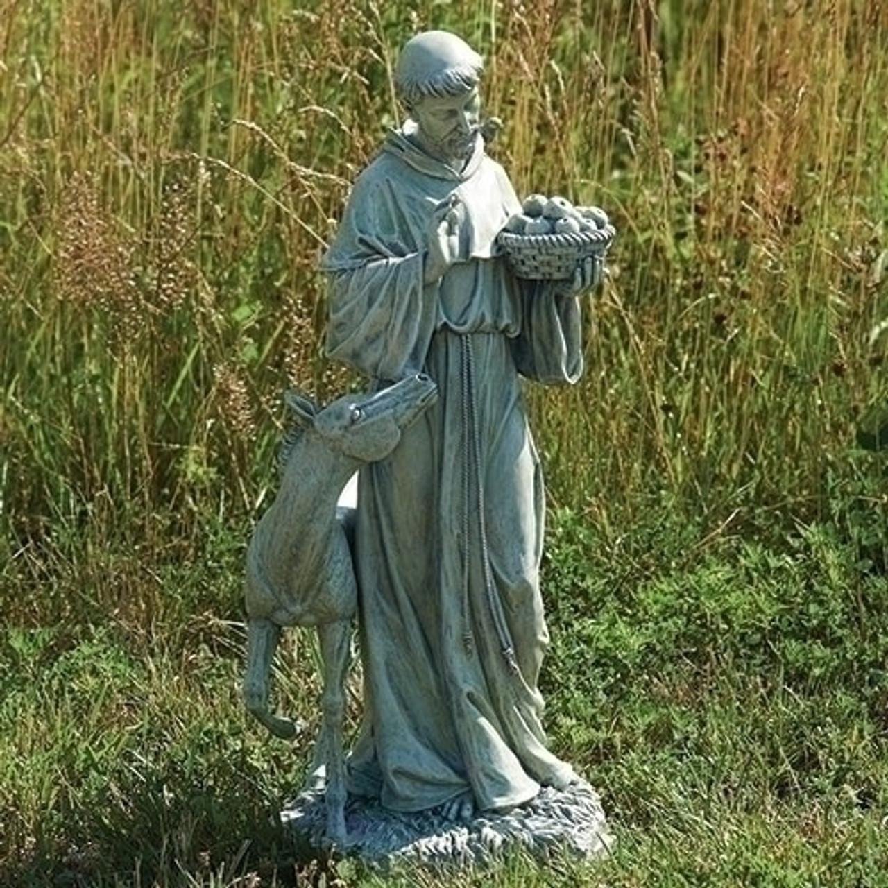 "12/"" Brown Resin Stone Garden Bird Feeder St Francis Assisi Outdoor Deer Statue"