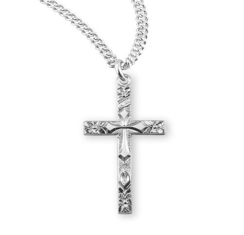 """Sterling Silver Flower Tipped Ornate Cross 