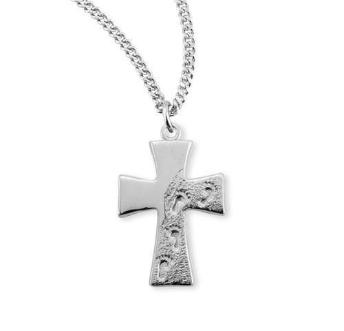 Sterling Silver Footprints in the Sand Cross