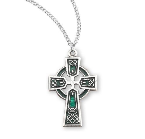 "Sterling Silver Green Enameled Irish Celtic Cross Pendant | 18"" Chain"