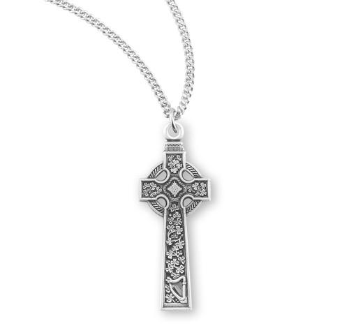 "Sterling Silver Large Irish Celtic Cross | 18"" Chain"