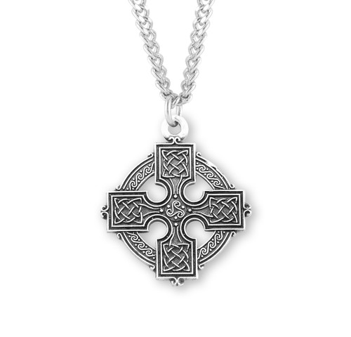 "Sterling Silver Irish Celtic Round Cross Pendant | 24"" Chain"