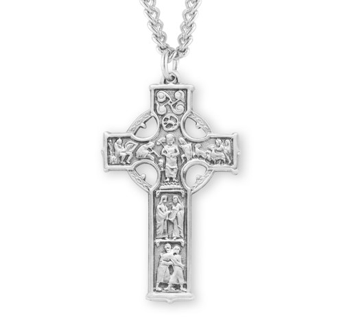 "Sterling Silver Irish Celtic cross | 24"" Chain"
