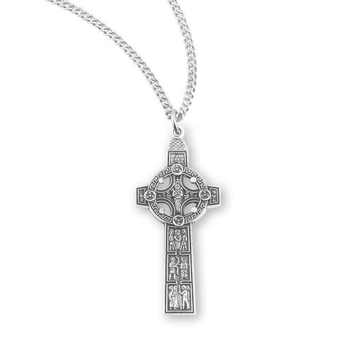 "Sterling Silver Medium Irish Celtic Cross | 18"" Chain"