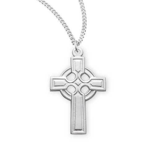 "Sterling Silver Smooth Medium Irish Celtic Cross | 18"" Chain"