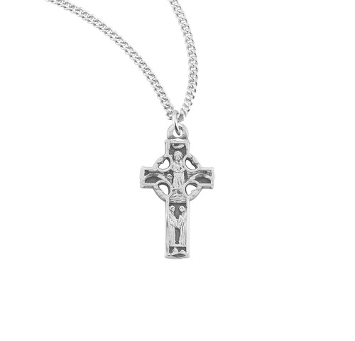 """Sterling Silver Small Detailed Irish Celtic Cross Pendant 