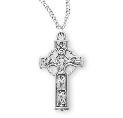 "Sterling Silver Large Detailed Irish Celtic Cross Pendant | 18"" Chain"