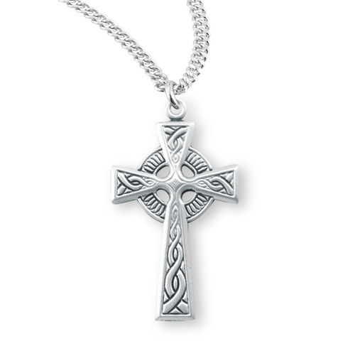 "Sterling Silver Irish Celtic Cross | 20"" Chain"