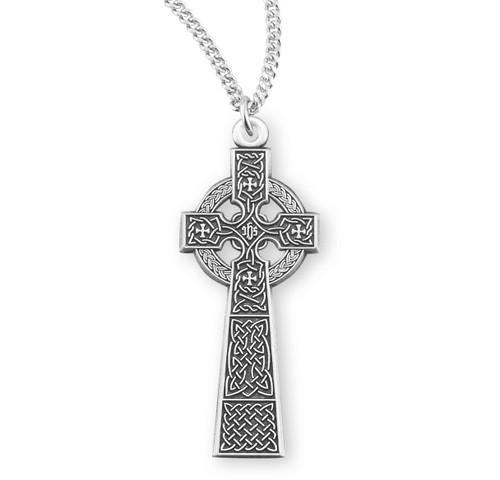 "Sterling Silver Large Irish Celtic Cross Pendant | 18"" Chain"