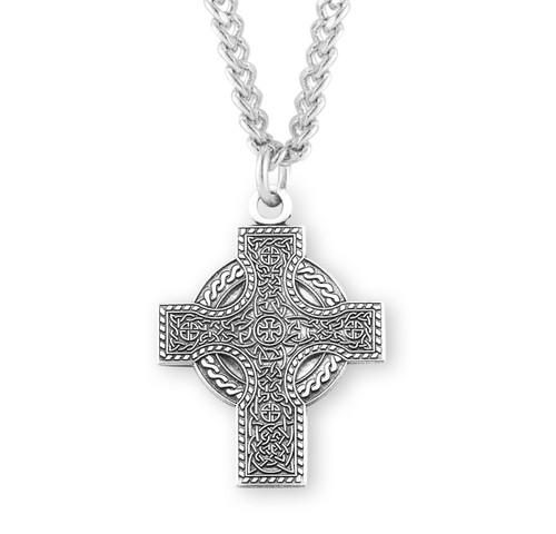 "Sterling Silver Irish Celtic Knot Cross Pendant | 24"" Chain"