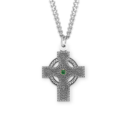 "Sterling Silver Green Gem Irish Celtic Cross Pendant | 24"" Chain"